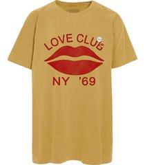 newtone t-shirt love club mustard geel