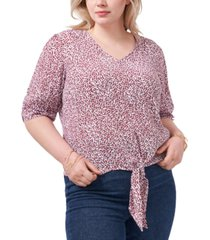 1.state trendy plus size tie-front crinkle top