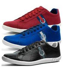 kit 3 pares de sapatênis casual dhl masculino vermelho, azul e preto