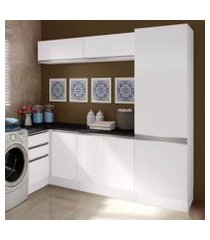 kit área de serviço madesa acordes glamy 100% mdf com armário, gaveteiro e balcão de canto branco branco