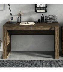 mesa escritório 2 gavetas 1 c/ chave nogal tecno mobili - tricae