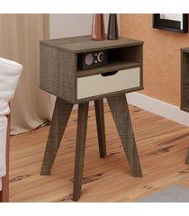 mesa de canto vip com nicho canela/off white - artely