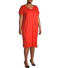 eileen fisher women's plus v-neck dress - geranium - size 1x (14-16)