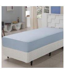 lençol solteiro com elástico 233 fios algodão azul plumasul