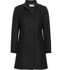 levannaiw crew coat wollen jas lange jas zwart inwear