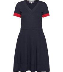 fit&flare punto dress ss korte jurk blauw tommy hilfiger