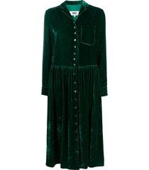 mm6 maison margiela velvet-effect shirt dress - green
