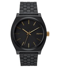 men's nixon 'the time teller' stainless steel bracelet watch, 37mm