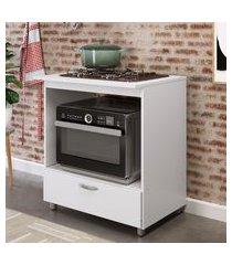 balcão para forno e cooktop 4 bocas completa móveis 1 gaveta branco
