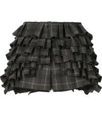 vera wang check-print ruffled shorts - grey