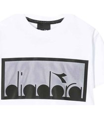 diadora white and black cropped t-shirt