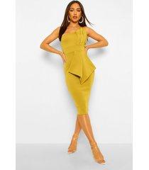 geplooide midi jurk met blote schouder, chartreuse