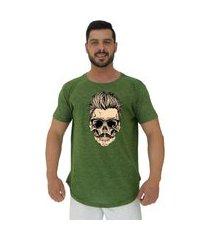 camiseta longline alto conceito caveira cabelo estiloso nuno verde