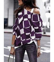 camicetta casual a maniche lunghe a maniche lunghe scozzese a quadri