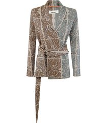 belted pattern cardigan