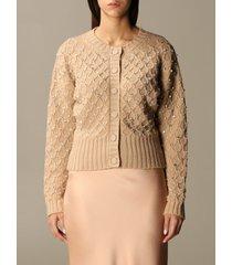 blumarine cardigan rhinestone braided wool cardigan