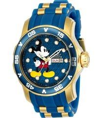 reloj invicta azul dorado modelo 237rk para hombres, colección disney limited edition
