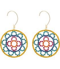 area crochet-effect gold-tone crystal earrings - yellow