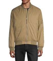 french connection men's reversible bomber jacket - green multi - size xs