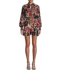 floral high-neck mini dress