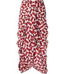 isabel marant red and white silk bled midi skirt