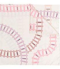 chanel pre-owned 2010s coco rail tracks-print scarf - white