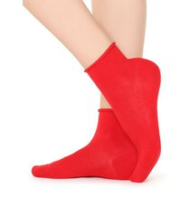 calzedonia extra short flat-knit bandless cotton socks woman red size tu