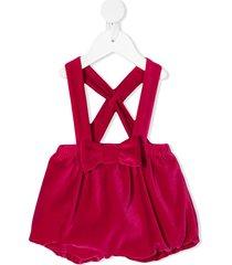 il gufo velvet bow romper - pink