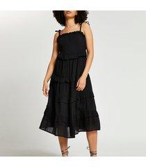 river island womens black midaxi ruffle beach dress