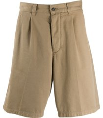 ami paris men pleated bermuda shorts - neutrals