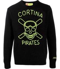 mc2 saint barth black man sweater cortina pirates fluo embroidery