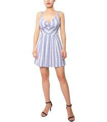 derek heart striped twist-front a-line dress