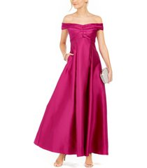adrianna papell off-the-shoulder satin gown