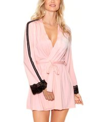 icollection women's elegant knit ultra soft contrast lace robe