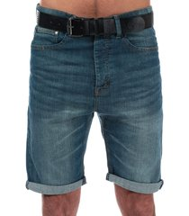crosshatch black label mens yankton denim belted shorts size 36r in blue