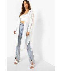dobby mesh maxi blouse, white