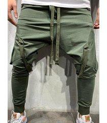 hombre casual streetwear style big pocket harem pantalones