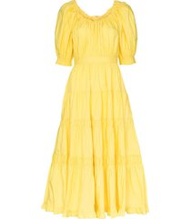 ulla johnson colette puff sleeve flared dress - yellow