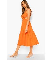 katoenen midi jurk met uitsnijding en ruches, orange