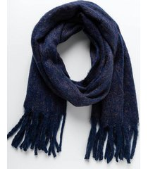 veronica classic fringe scarf - navy