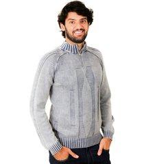 blusa officina do tricô itália cinza
