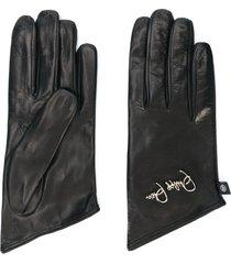philipp plein embroidered logo gloves - gold