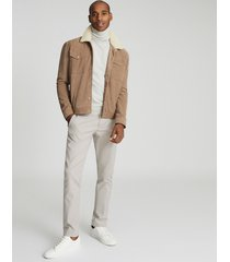 reiss miles - suede jacket with shearling collar in sawdust, mens, size xxl