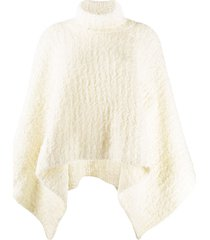 jacquemus turtleneck knitted poncho - white