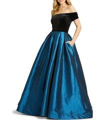 mac duggal women's off-the-shoulder taffeta ball gown - teal - size 6