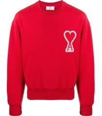 ami oversize ami de caur patch sweatshirt - red