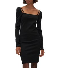 women's helmut lang square neck long sleeve dress, size small - black