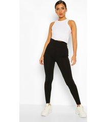 basic diepe gekleurde legging met hoge taille, zwart