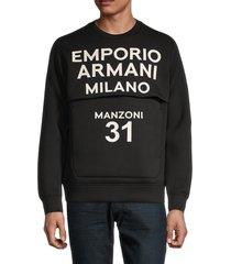 emporio armani men's logo sweatshirt - black - size s