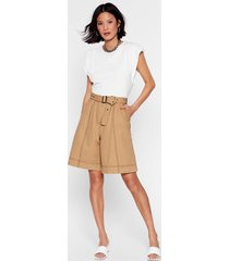 win win stitch-uation high-waisted belted shorts